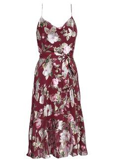 Alice + Olivia Woman Wrap-effect Floral-print Fil Coupé Chiffon Dress Plum