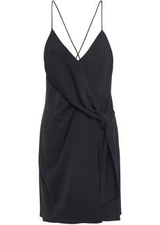 Alice + Olivia Woman Wrap-effect Knotted Crepe Mini Dress Black