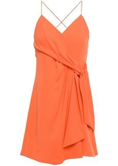 Alice + Olivia Woman Wrap-effect Knotted Crepe Mini Dress Bright Orange