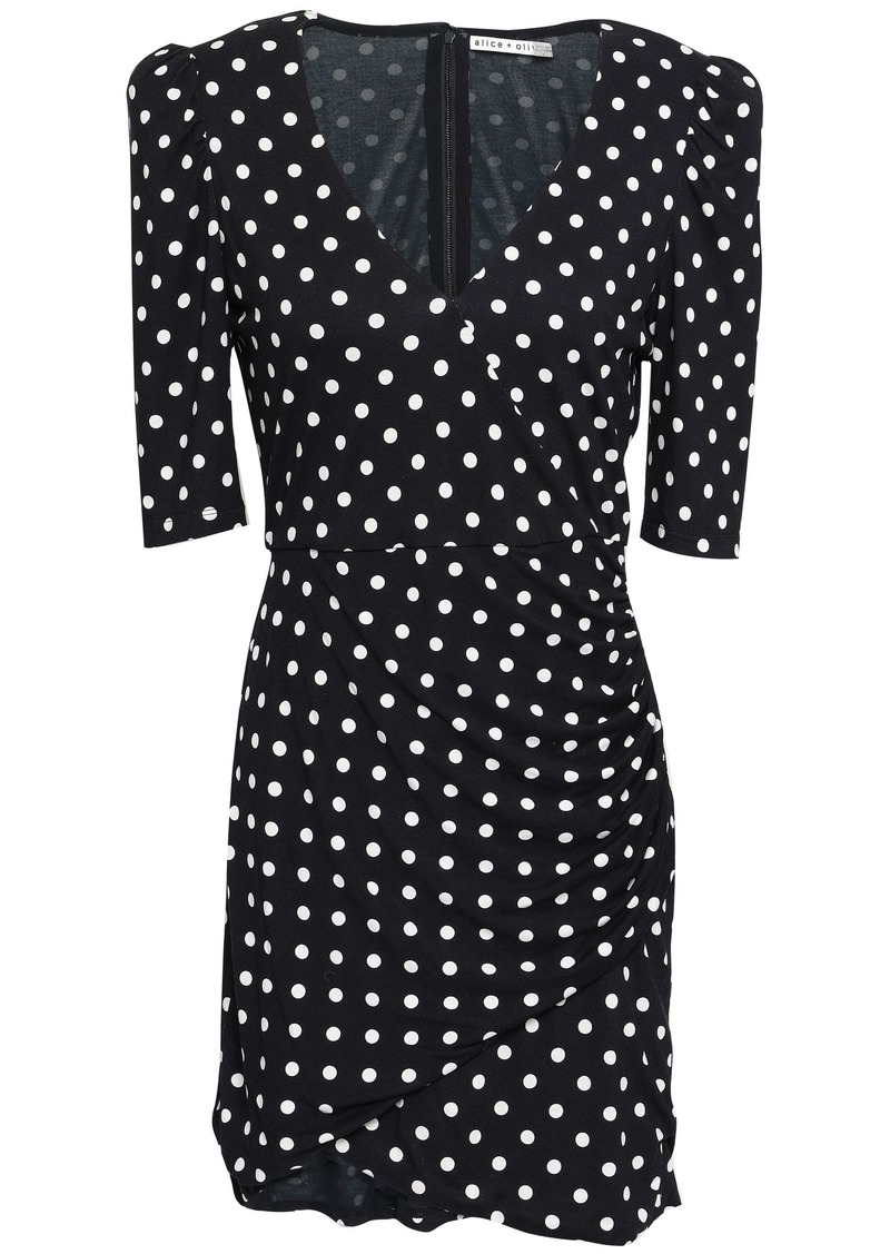 Alice + Olivia Woman Wrap-effect Ruched Polka-dot Jersey Mini Dress Black