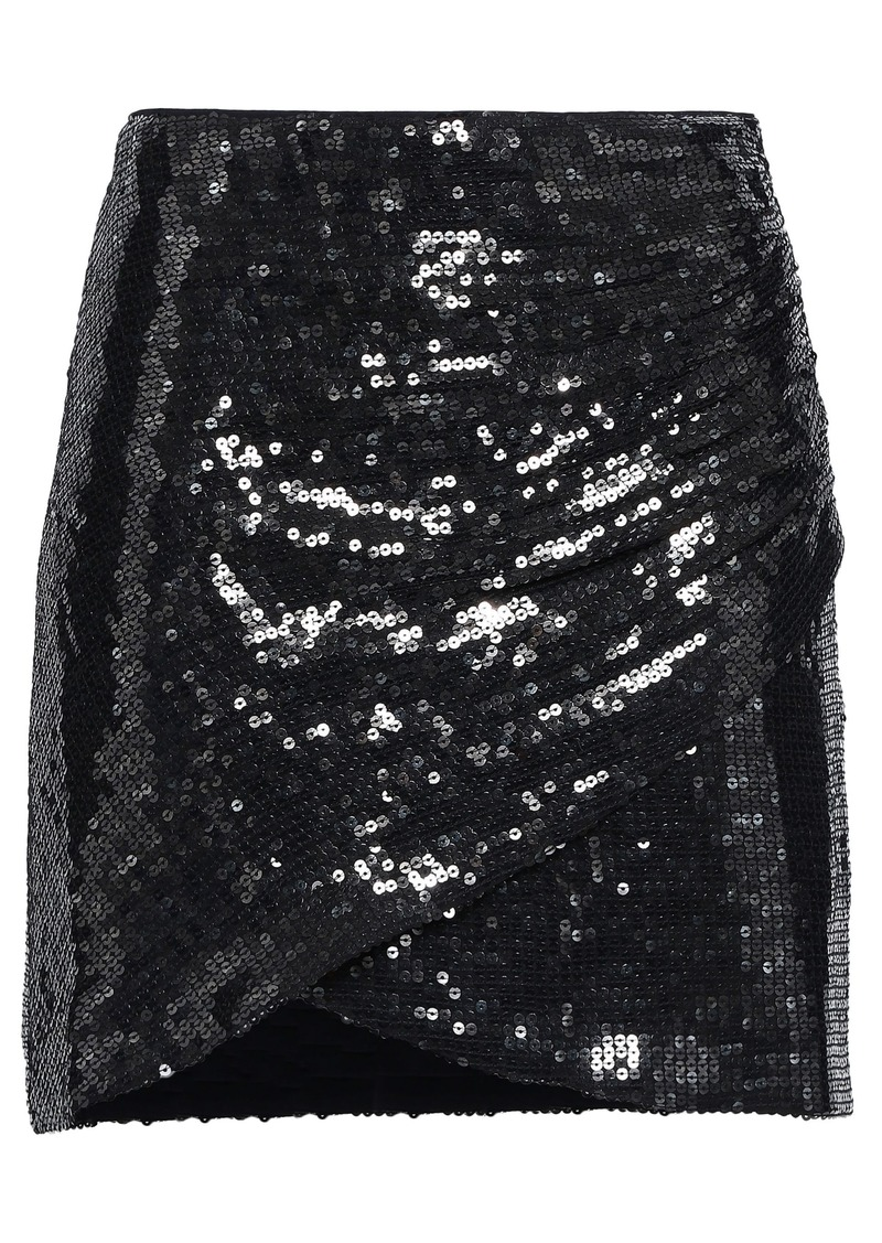 Alice + Olivia Woman Wrap-effect Sequined Crepe Mini Skirt Black
