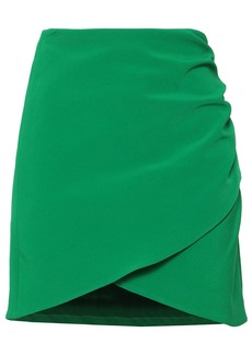 Alice + Olivia Woman Wrap-effect Stretch-crepe Mini Skirt Green