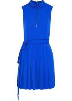 Alice + Olivia Woman Yoko Belted Pleated Crepe Mini Dress Blue