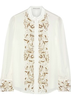 Alice + Olivia Woman Zita Embellished Crepe De Chine Blouse Off-white