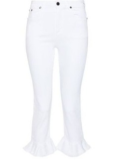 Alice + Olivia Woman Zoe Cropped Ruffled High-rise Slim-leg Jeans White