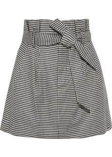 Alice + Olivia Woman Zoya Belted Houndstooth Woven Mini Skirt Black