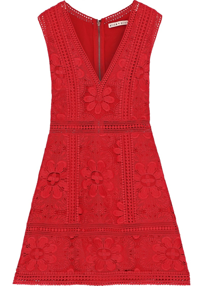 Alice + Olivia Woman Zula Guipure Lace Mini Dress Red