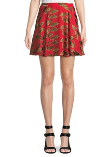 Alice + Olivia X Donald Robertson Blaise Cheetah Lips Trapeze Mini Skirt