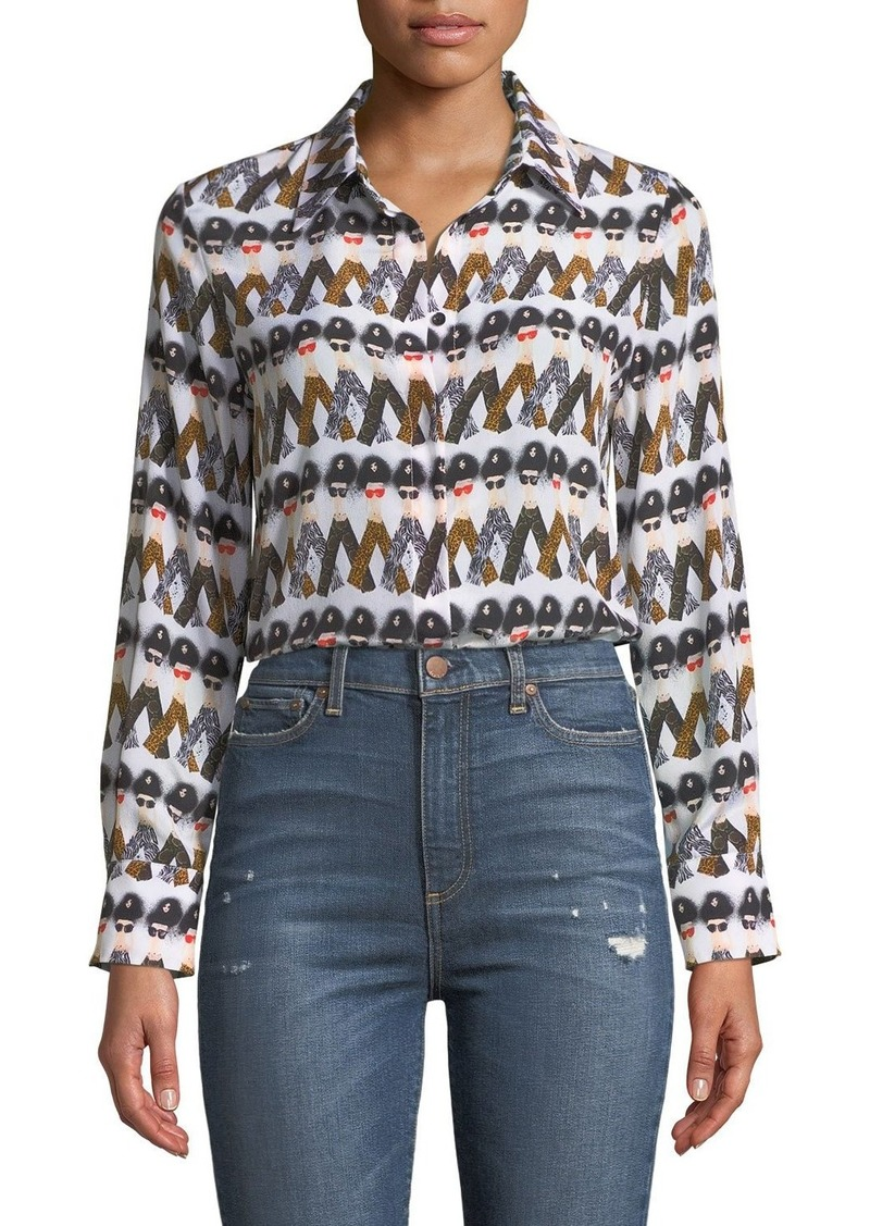 Alice + Olivia X Donald Robertson Willa Crazy Pants Printed Silk Button-Down Top