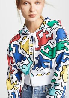 alice + olivia x Keith Haring Barron Cropped Wide Sleeves Hoodie
