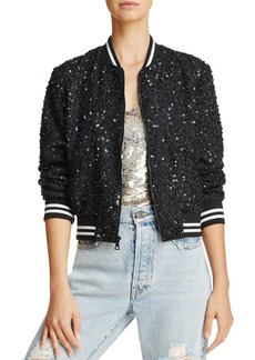 Alice + Olivia x The Beatles Lonnie Embellished Silk Bomber Jacket