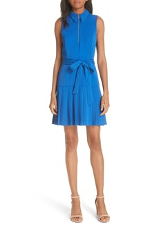 Alice + Olivia Yoko Zip Front Pleated Dress