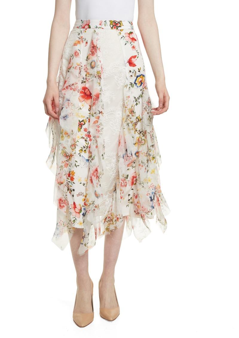 746f3fa713 Alice + Olivia Alice + Olivia Yula Floral Silk & Lace Midi Skirt ...