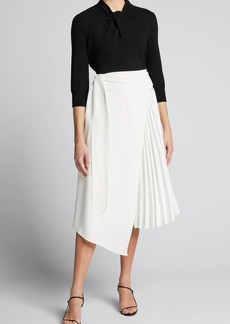 Alice + Olivia Zabana Asymmetric Pleated Midi Skirt