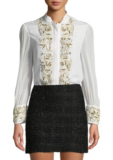 Alice + Olivia Zita Pearlescent-Embroidered Button-Front Blouse