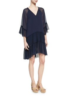Alice + Olivia Zoey Tiered V-Neck Tunic Dress