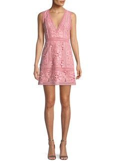 Alice + Olivia Zula Sleeveless V-Neck Lace Mini Party Dress