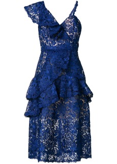 Alice + Olivia Alice+Olivia asymmetric lace dress - Blue