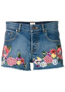 Alice + Olivia Alice+Olivia floral embroidered denim shorts - Blue