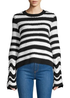Alice + Olivia Alivia Striped Bell Sleeve Sweater