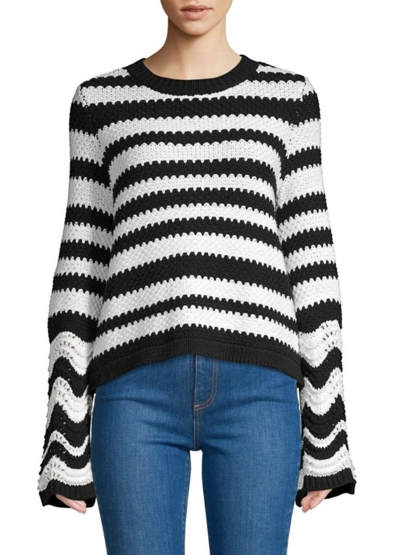Alice + Olivia Alivia Striped Bell Sleeve Sweater
