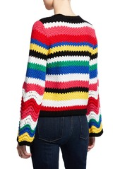 Alice + Olivia Alivia Textured Bell-Sleeve Pullover