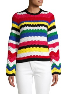 Alice + Olivia Alivia Textured Multicolor Stripe Knit Sweater