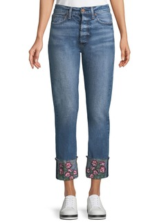 Alice + Olivia Amazing Cropped Embroidered Straight Jeans
