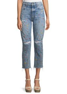 Alice + Olivia Amazing Embellished High-Rise Cropped Jeans