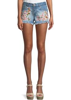 Alice + Olivia Amazing Embroidered Vintage-Inspired Denim Shorts
