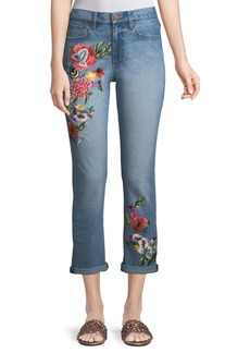 Alice + Olivia Amazing Floral-Embroidered High-Rise Straight-Leg Jeans