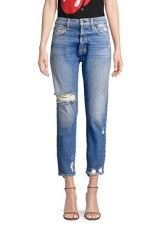 Alice + Olivia Amazing High Rise Distressed Button Fly Jeans