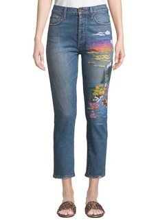 Alice + Olivia Amazing High-Rise Slim Girlfriend Jeans