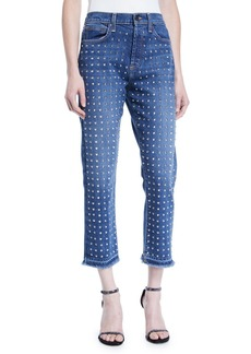 Alice + Olivia Amazing High-Rise Studded Slim Girlfriend Jeans
