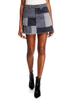 Alice + Olivia Amazing Patchwork Denim Mini Skirt