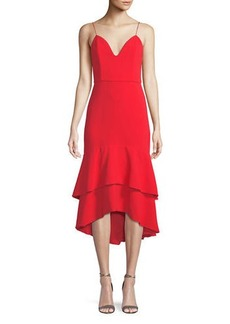 Alice + Olivia Amina Sleeveless Flounce Midi Dress