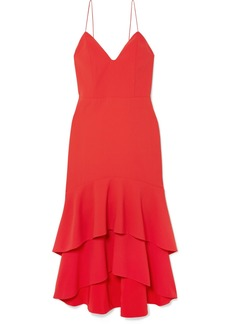 Alice + Olivia Amina Tiered Crepe Midi Dress
