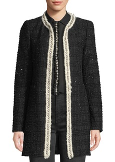 Alice + Olivia Andreas Collarless Boucle Jacket w/ Crystalized Embroidery