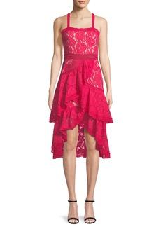 Alice + Olivia Angelita Asymmetric Tiered Lace Date Night Dress