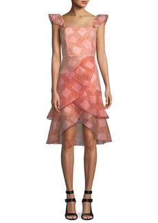 Alice + Olivia Angelita Striped Ruffle Asymmetric Midi Dress