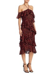 Alice + Olivia Annabeth Cold-Shoulder Ruffle Dress