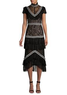 Alice + Olivia Annetta Mixed Media Tiered Ruffle Illusion Dress