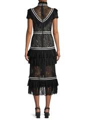 Alice + Olivia Annetta Pleated Tier Ruffle Dress