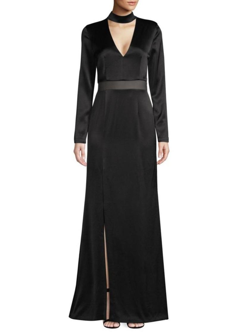 Alice + Olivia Arial Strong Shoulder A-Line Gown