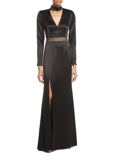 Alice + Olivia Arial Strong Shoulder Gown