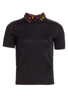 Alice + Olivia Aster Multicolor-Print Collar Short-Sleeve Sweater