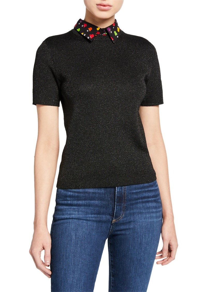 Alice + Olivia Aster Short-Sleeve Collared Pullover Sweater