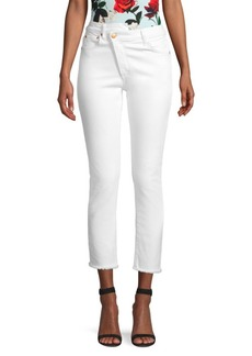 Alice + Olivia Asymmetric Fly Raw Hem Jeans