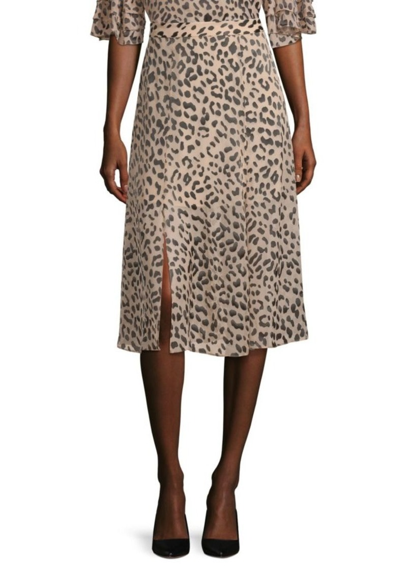 Alice + Olivia Athen Leopard Silk Midi Skirt