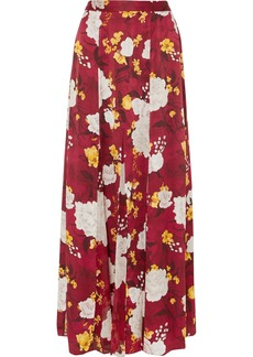 Alice + Olivia Athena Floral-print Hammered Silk-satin Maxi Skirt